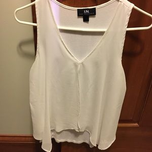 White sheer layered blouse